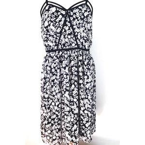 Lane Bryant Black and White Floral Print Dress EUC